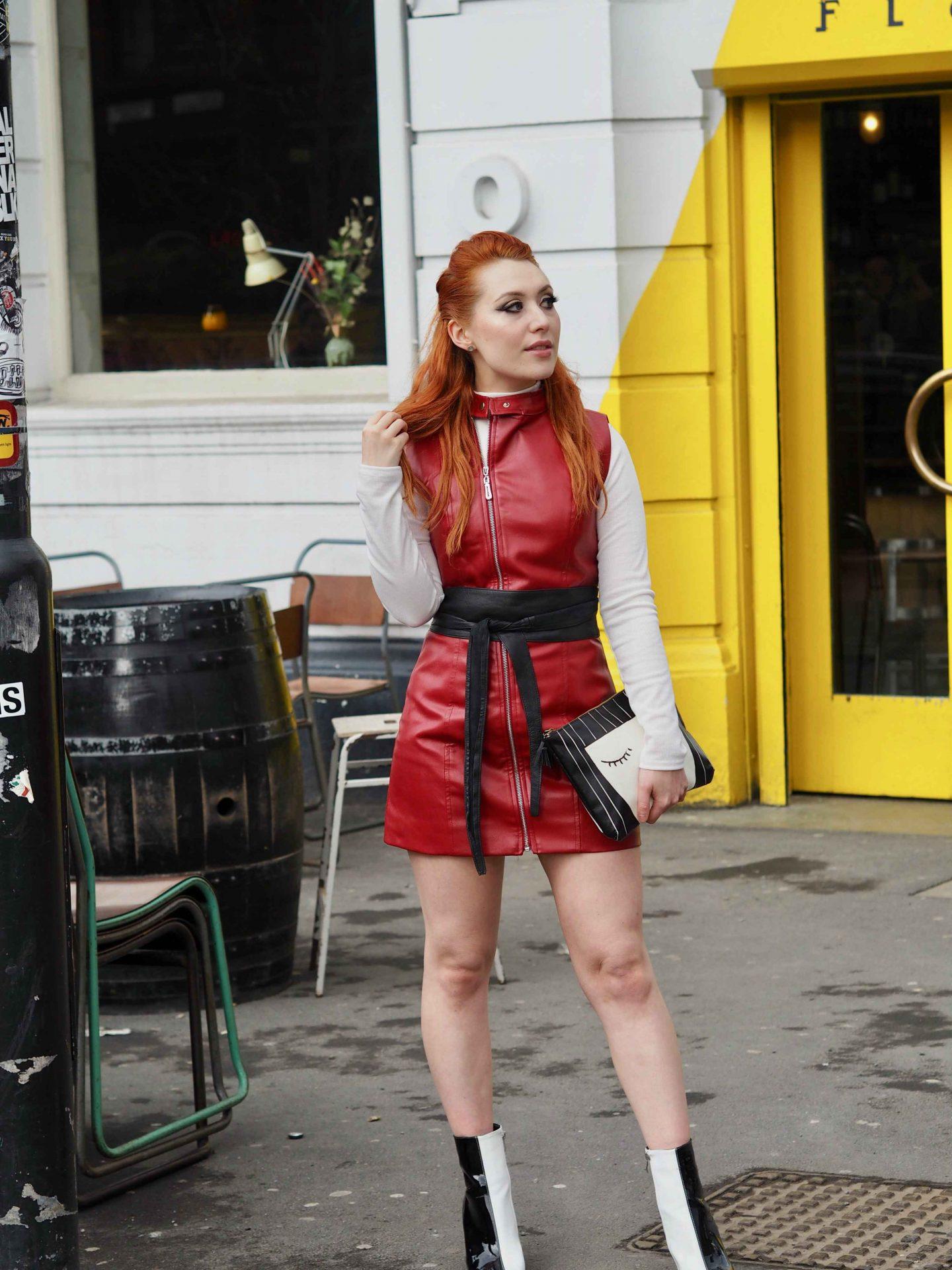 Blogger Twenty-Something City red leather biker dress street style Flok Manchester