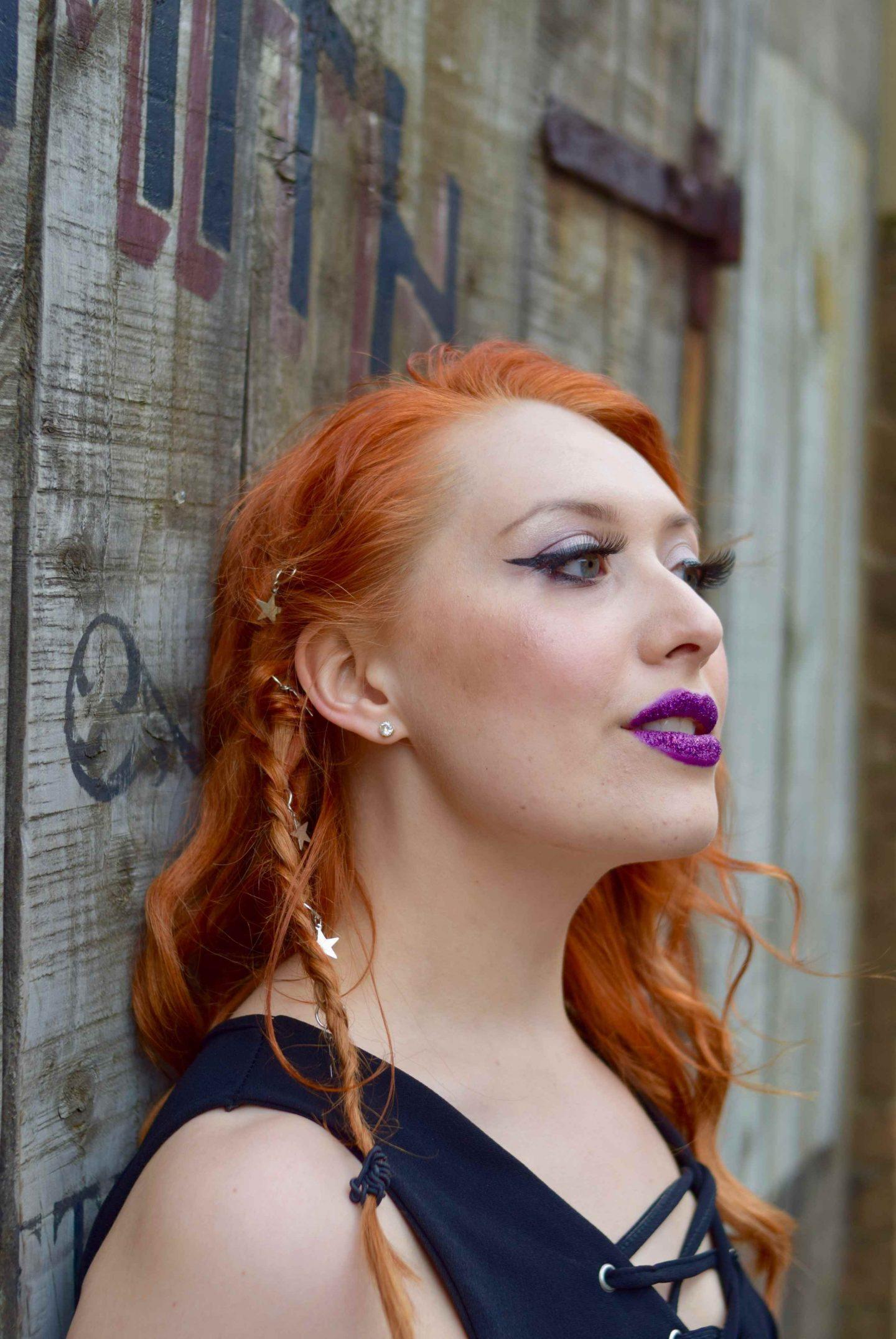 Blogger Twenty-Something City festival hair and make up trends glitter lips hair rings