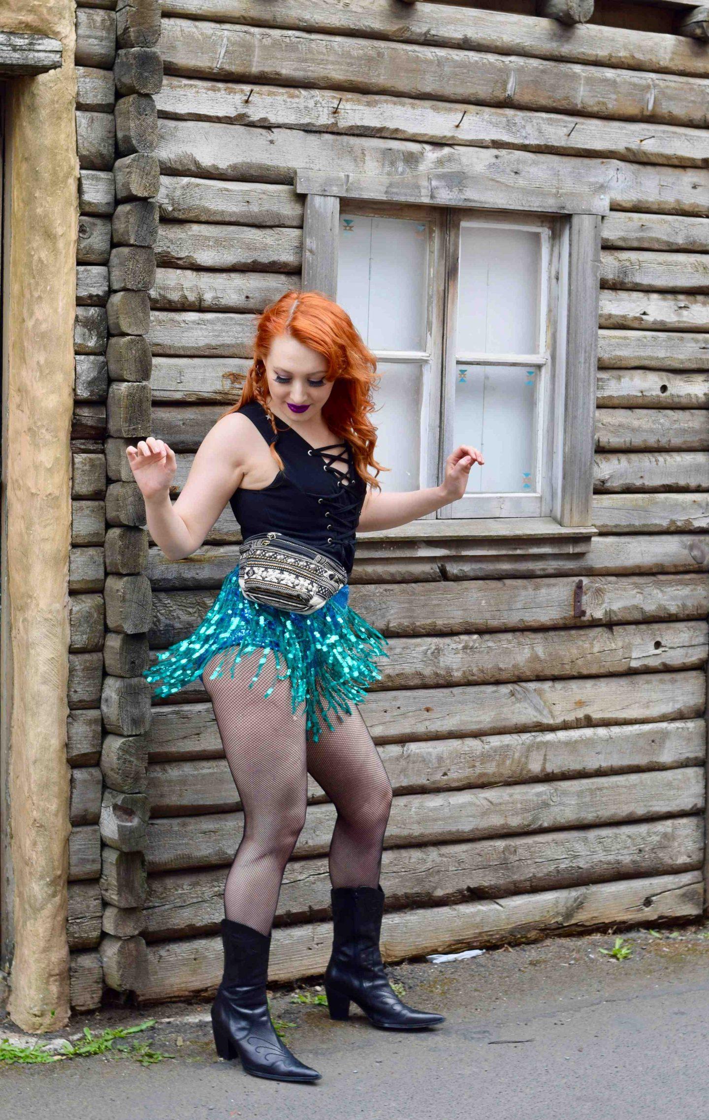 Blogger Twenty-Something City festival must-have sequin tassel shorts Edinburgh Wild West