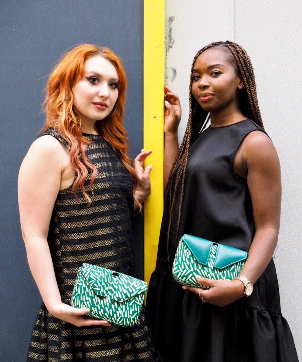 Edinburgh bloggers and Instagrammers model for Leyelesi colourful handbags