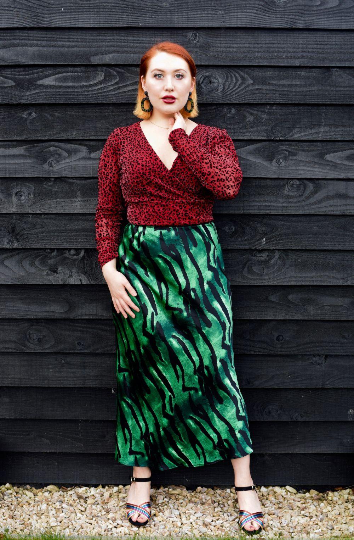 Scottish blogger Styled by Alice wears animal print silk bias midi skirt