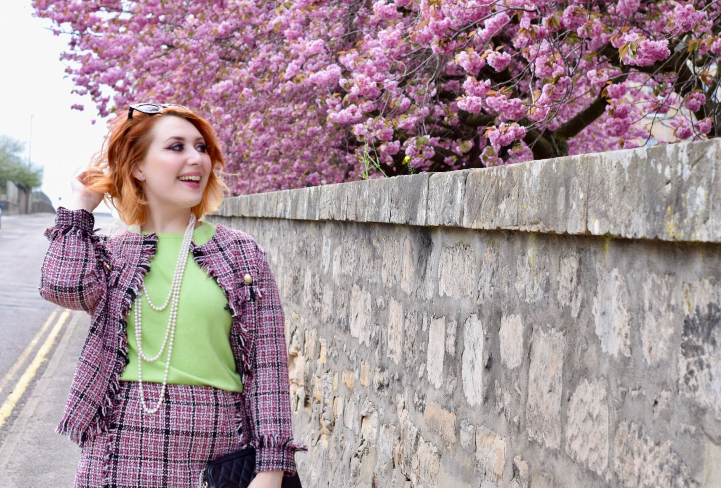 Scottish blogger Styled by Alice wears boucle tweed coord from Shein inspired by Karl Lagerfeld Chanel