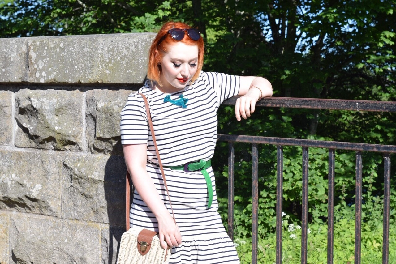 Ethical fashion blogger Styled by Alice wears organic cotton Breton stripe dress with green accessories for summer