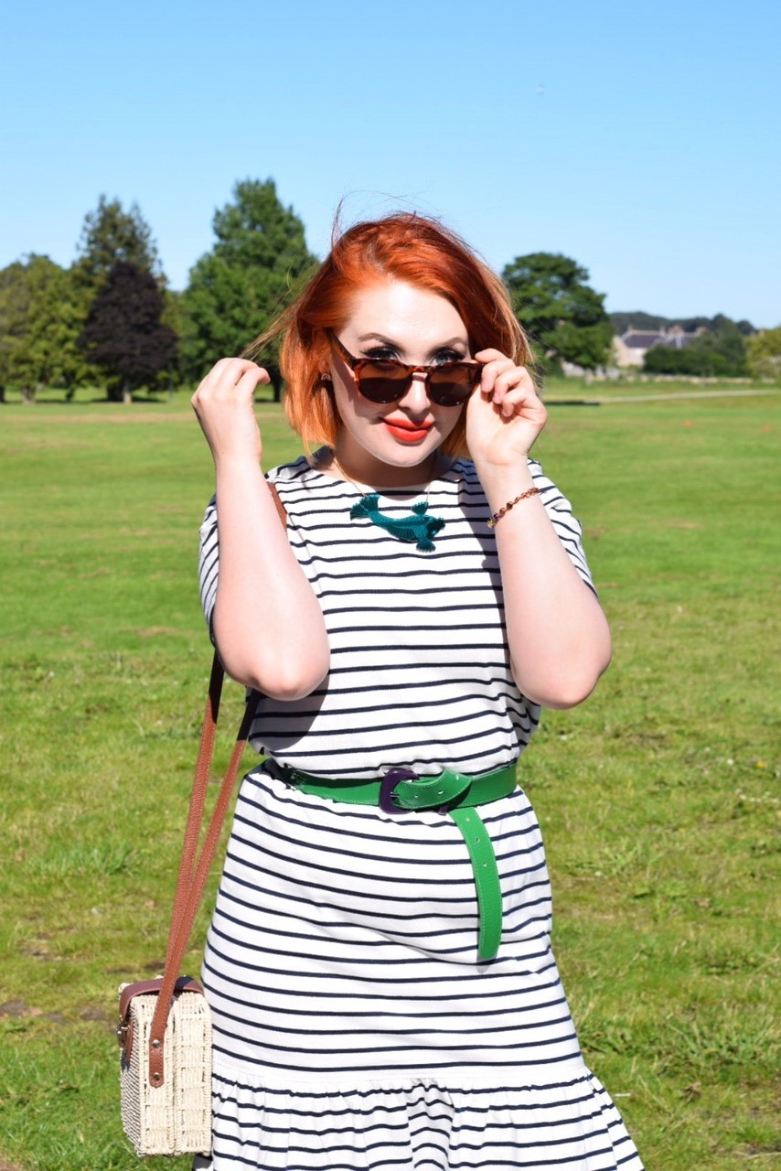 Scottish ethical fashion blogger Styled by Alice wears organic cotton dress with sunglasses and summer accessories