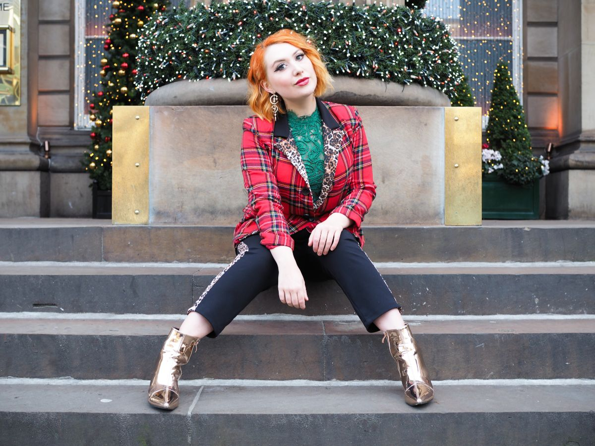 Blogger Styled by Alice wears Ethical Christmas fashion tartan outfit outside The Dome, Edinburgh