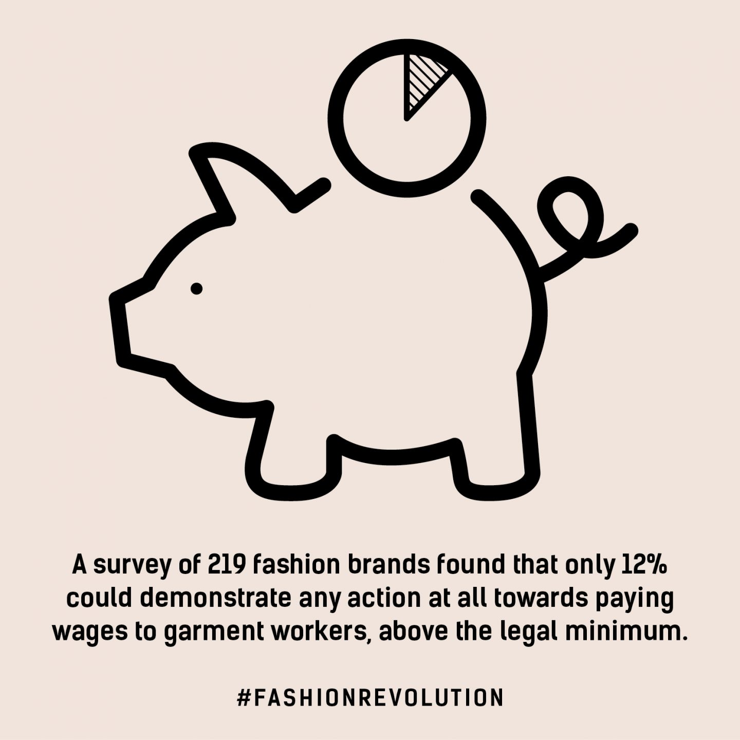 Fashion Revolution infographic stating only 12% of fashion companies can prove they are tackling low wages for garment workers