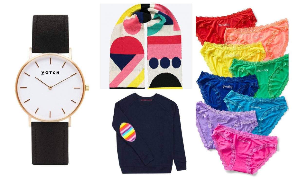 ethical Christmas gift ideas for her 2020, including a vegan watch, colourful scarf, rainbow patch sweatshirt, and funky ethical pants set