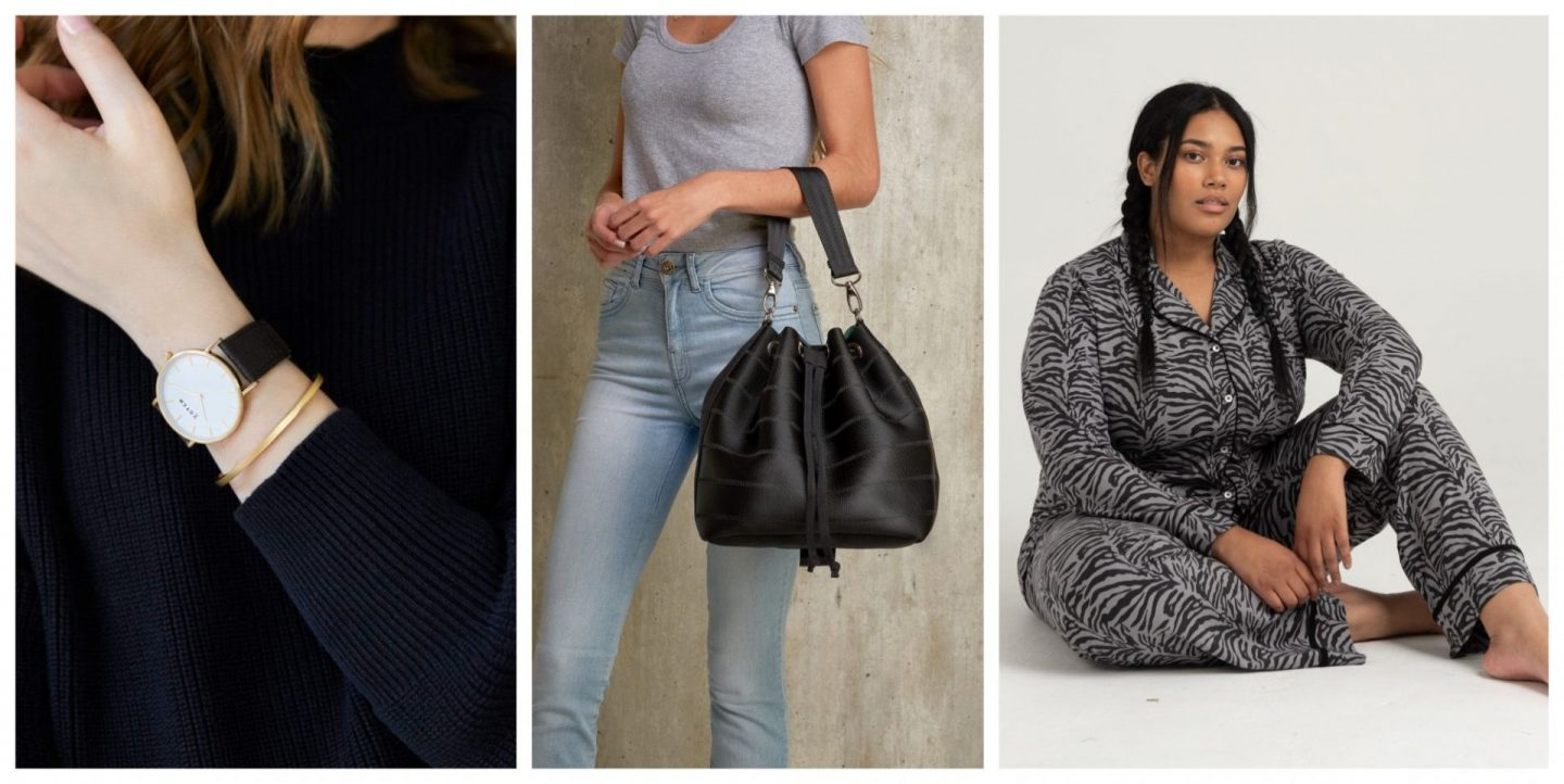 Luxury ethical gift ideas include a Pinatex vegan watch, a recycled textile handbag, and bamboo pyjamas