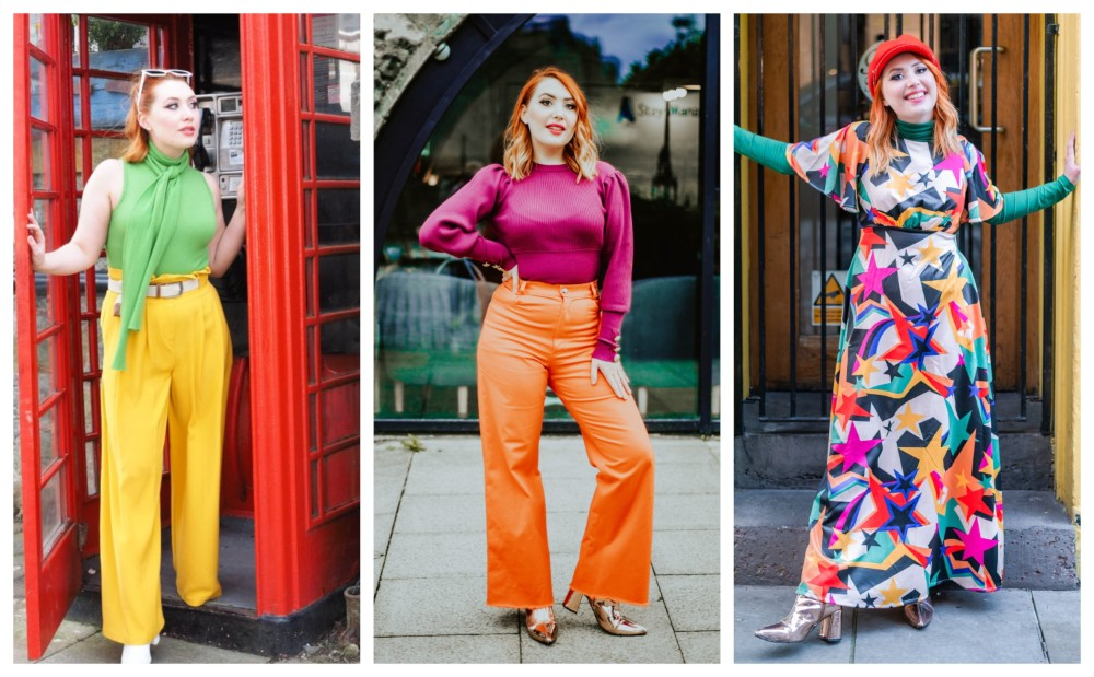 Three photos of Alice wearing colourful, vibrant, and fun outfits from 2020