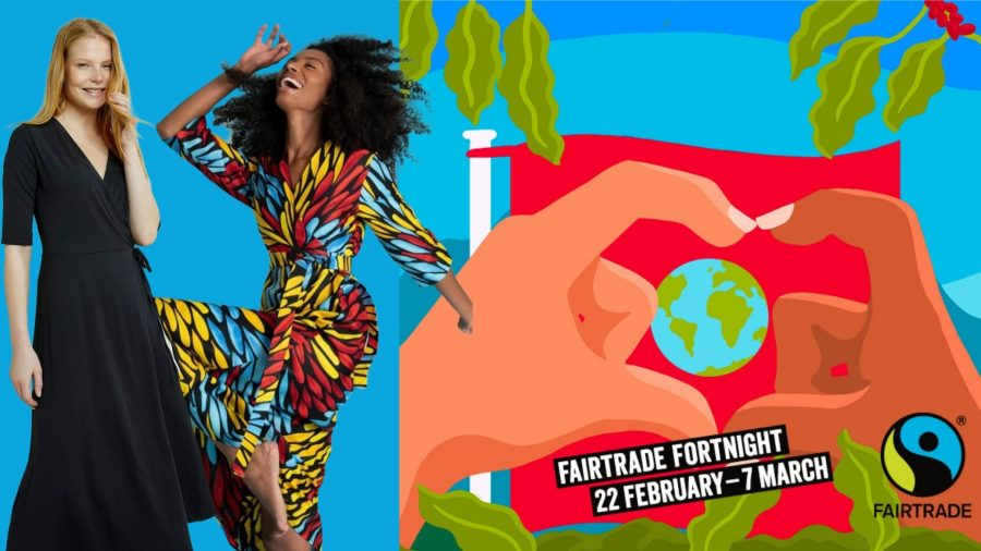 Fairtrade Fortnight flyer featuring fair trade British fashion brands People Tree and Mayamiko